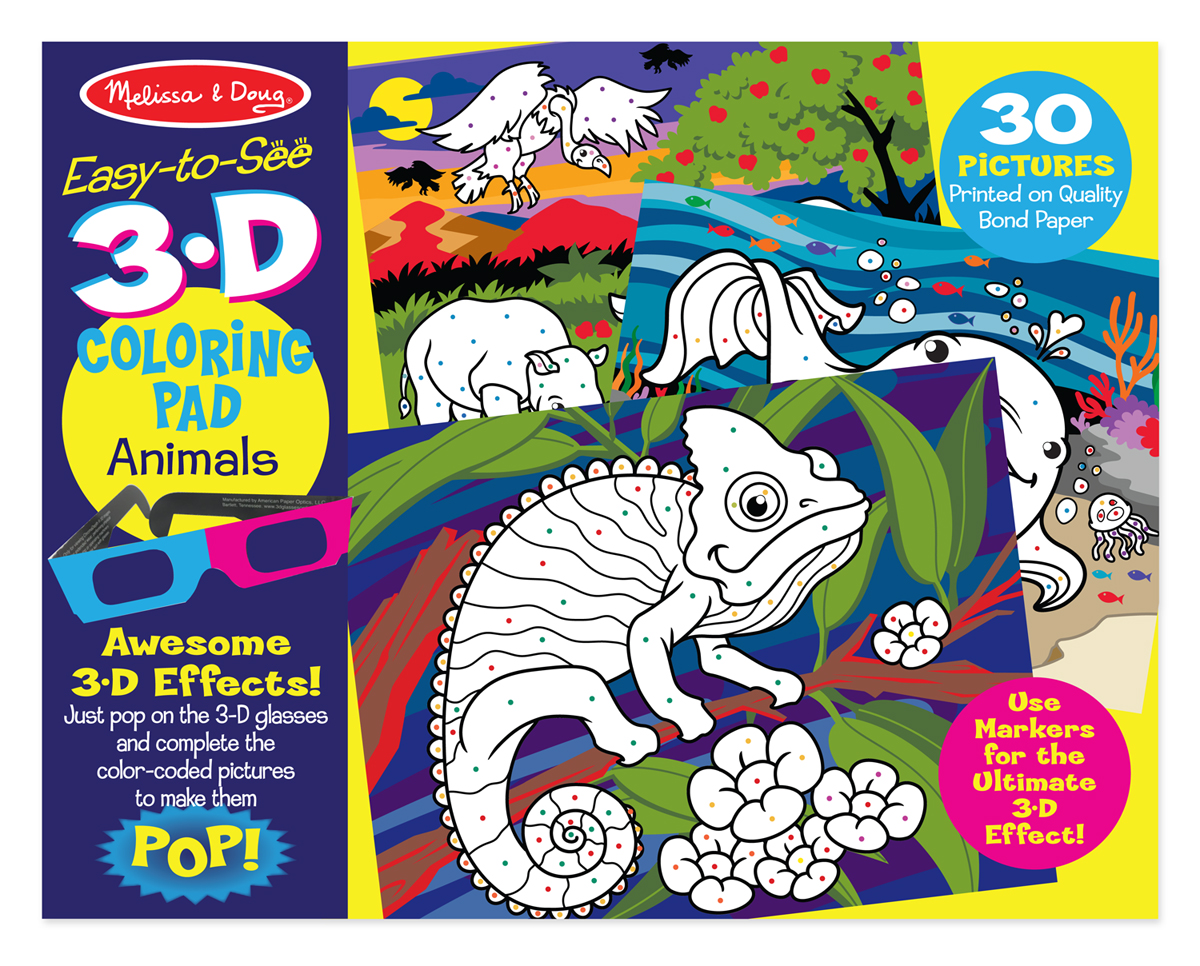 Melissa & Doug Easy-to-See 3-D Coloring Pad, Animals - Corporate ...