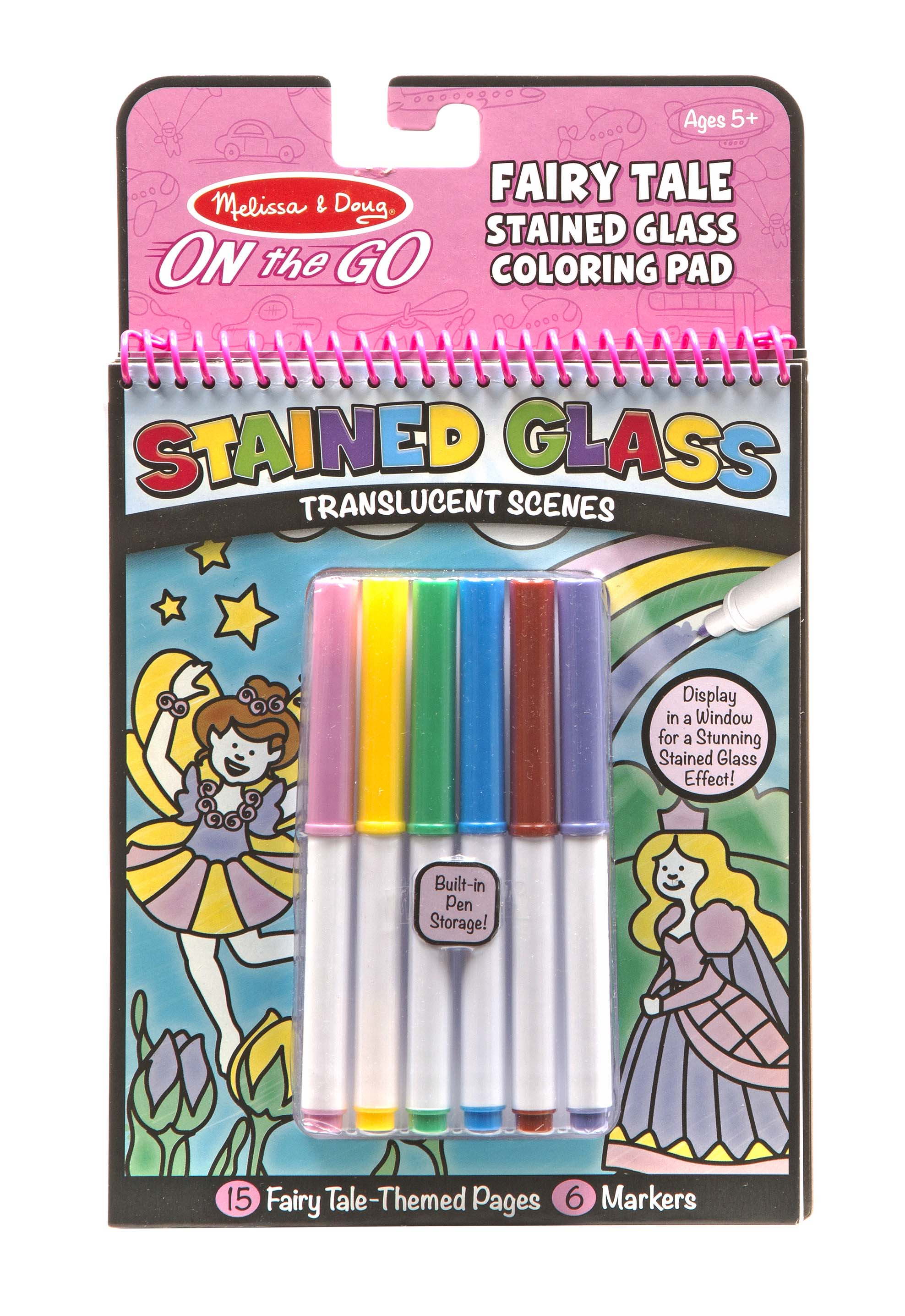 Melissa & Doug On the Go Stained Glass Coloring Pad - Fairy Tale ...